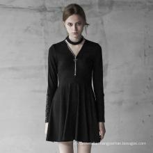 Gothic Dress Long Sleeve V-collar zipper Halter Decorative Knitted A line Fitting zipper Black Lady Dresses OPQ419- PUNK RAVE