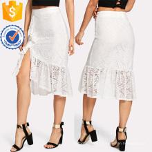 Ruffle Hem Asymmetric Dentelle Jupe Fabrication En Gros Mode Femmes Vêtements (TA3094S)