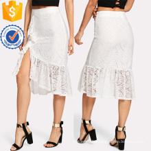 Ruffle Hem Asymmetric Lace Skirt Manufacture Wholesale Fashion Women Apparel (TA3094S)
