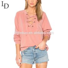 custom design v-neck sexy long sleeve lace-up women blouse