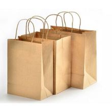 Kundenspezifische Brown Krfat Griff Tasche mit Logo bedruckt