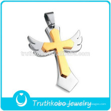 Gold Cross Attached Silver Angle Wings 316L Stainless Steel Pendant