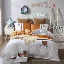 Линда белый и коричневый Пима хлопок кровать листа наборы с дизайна моды