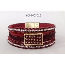 Red Leather Bracelet with Gems Jewelry