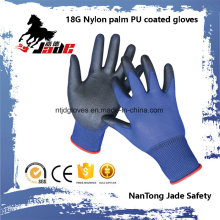 18g Blue Lind Palm Schwarz PU Coated Industriehandschuh