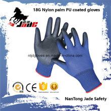 18g Blue Lind Palm Black PU Coated Industrial Glove