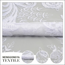 Professional new net design white tulle tape floral embroidered fabric
