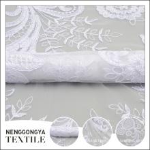 Tela bordada floral nova profissional branca da fita do tule do projeto líquido