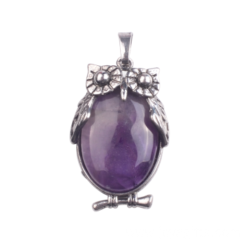 Newest Amethyst Pendant Owl Healing Alloy Pendulum Necklace for Gifts