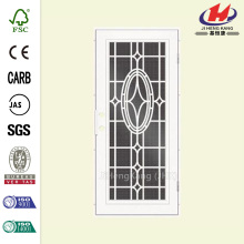 Modern Cross White Right-Hand Surface Mount Aluminum Security Door