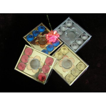Candela Tealight colorata metallizzata a mano