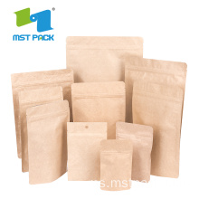 Makanan Grade Brown Craft Paper Coffee Compostable Bag