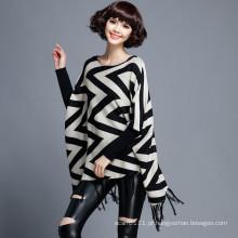 Mulheres moda onda padrão algodão nylon malha franja poncho (yky2052)
