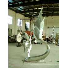 Escultura de acero inoxidable dos palomas Escultura de arte para jardín / al aire libre