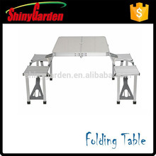 Portable aluminum folding dining table and chair with umbrella for option
