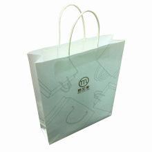 White Kraft Paper Shopping Bag with Logo