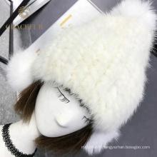 Populaire 2018 Mesdames chapeau de fourrure blanche avec des oreilles