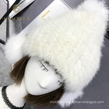 Factory wholesale winter real mink fur knitted cashmere hat pompom