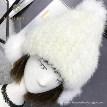 La fábrica al por mayor invierno real piel de visón de punto cachemir sombrero pompón