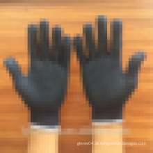 Algodão preto ou azul malha luvas de trabalho com pontos de PVC na palma