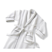 cheap white waffle shawl collar wtih piping hotel quality bathrobe