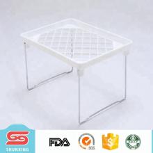 Prateleira de dobramento da cozinha branca plástica durável do melhor vendedor para o armazenamento