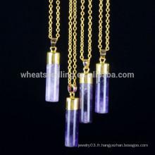 Collier pendentif en acier de 5 couleurs, collier pendentif en caoutchouc en pierre naturelle