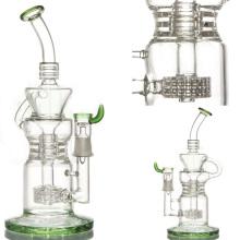 Рециклер стеклянная водопроводная труба для дыма с бочкой Perc (ES-GB-054)