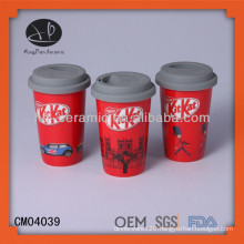 Nestle coffee travel mug wit silicon lid,ceramic mug with lid and design,porcelain cup with silicone lid