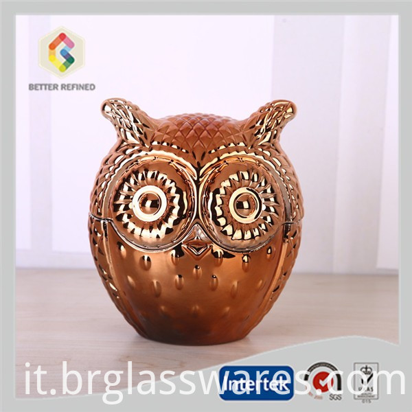 Cooper color of owl glass candle jar