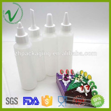 HDPE grade alimentar branco redondo vazio por atacado molho plástico espremer garrafa