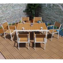 2017 7pcs plastic wood furniture garden