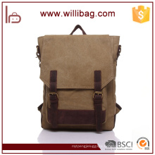 Factory Direct Sale Korean Style Canvas Bags School Backpacks With Genuine Leather