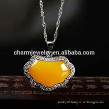 Yellow and Green Gemstone 925 Silver Necklace Famous In Western Country Design for Girls SCR030