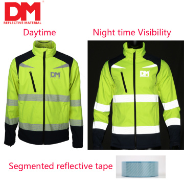 Segmented reflective tape for safety jacket