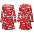 2017 Factory Price Matching Family Clothing For Women Santa Claus Printed White Sapphire Ladies Adult Christmas Clothing