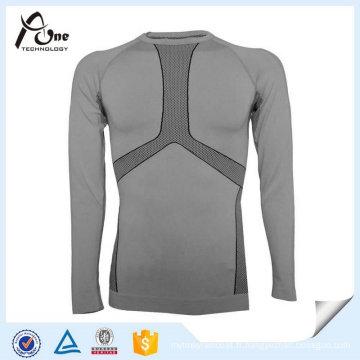 Sous-vêtements chauds thermiques sans couture de sport de polyester en nylon pour l'homme
