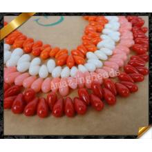 Естественные коралловые бусины слезинки, ожерелье способа ожерелья коралла (GB0129)