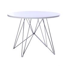 Mesa de comedor redonda con tapa de madera y base de alambre