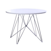 Round wood top dining table with wire base