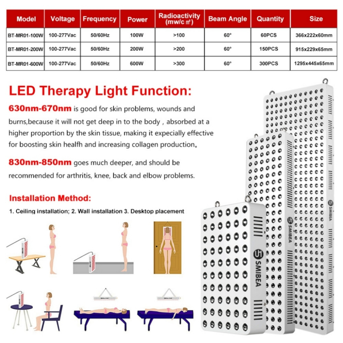 Professional Led Light Therapy Beauty Device 850NM 660NM