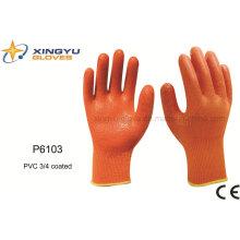 Poliéster Shell PVC 3/4 guantes de trabajo de seguridad recubiertos (P6103)