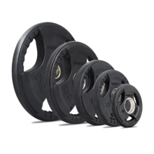 Color rubber coated weight plate tri grip