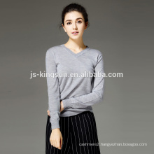 Women 100% Merino Wool Knitted V Neck Fashion Pullover Sweater