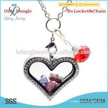 Hot sale colorful rhinestone floating locket charms dangles wholesale