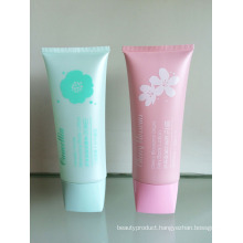 Oval PE Tube with Flower Silkscreen and Rectangle Cover for Body Lotion