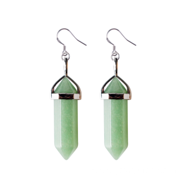 Natural Gemstone Healing Hexagonal Columns Crystal Hook Earring