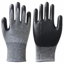 13G HPPE Liner Nitrile Dipped Work Gloves Cut 5 Resistents