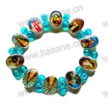 Fashion Metal Catholic Rosary Bracelet with Blue Glass Beads on Elastic