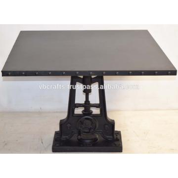 Industrial Metal Crank Table Square Riveted Metal Top